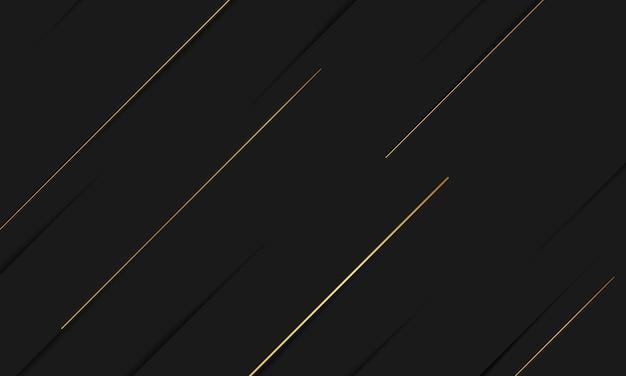 Black gold background overlap dimension abstract geometric modern Premium Vector