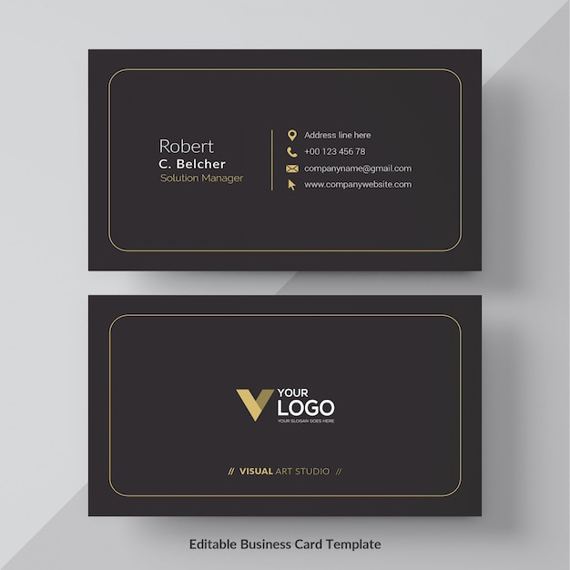 Black and gold business card free vector Free Vector