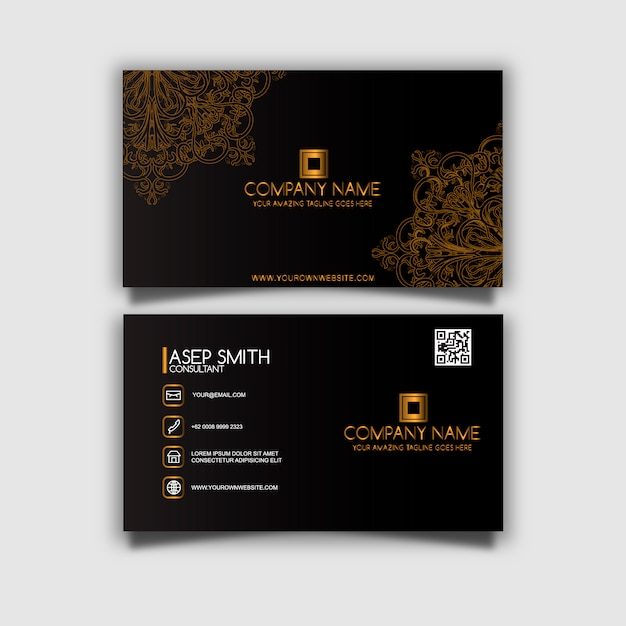 Gold Water Drop Olive Oil Logo And Business Card Design: Black And Gold Business Card