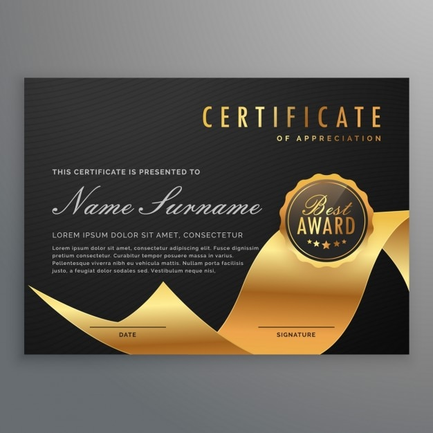 Black And Gold Certificate Vector Free Download