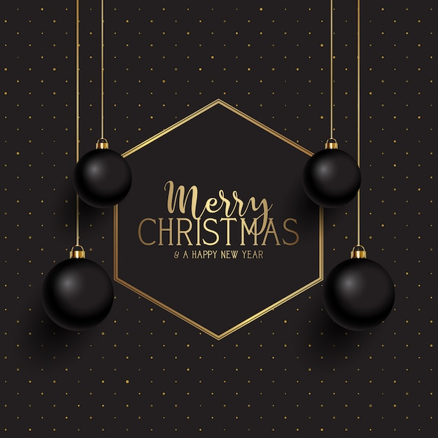 Black and gold christmas Free Vector