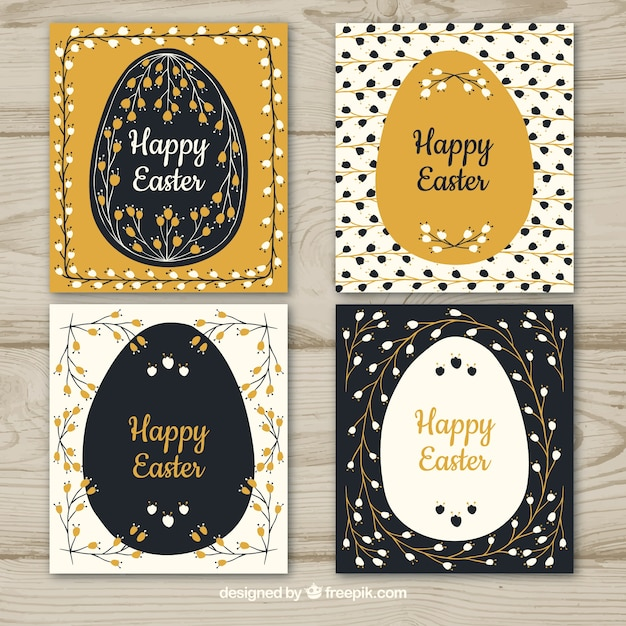 Black & gold easter day card collection Free Vector