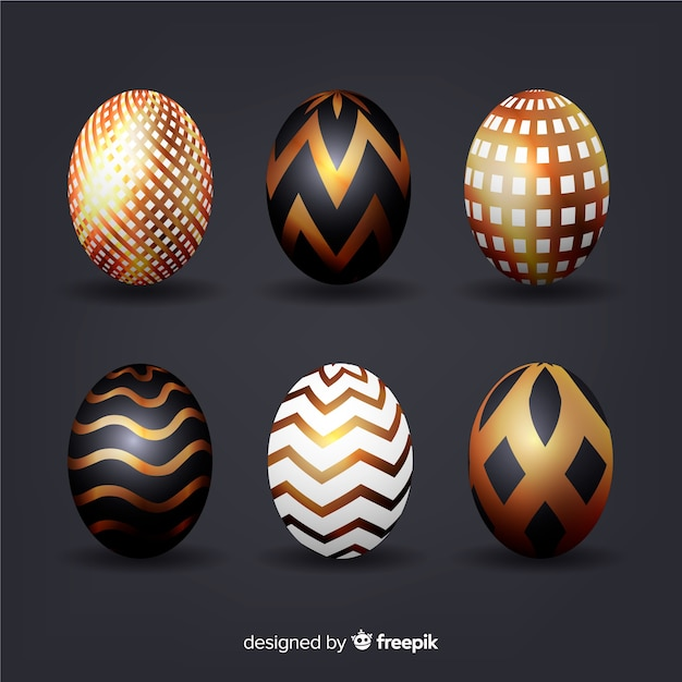 Black and gold easter day egg collection Free Vector