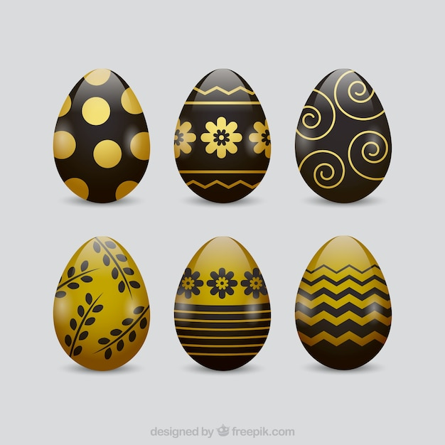 Black & gold easter day eggs collection Free Vector
