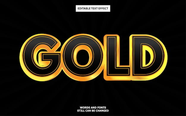 Black gold editable text effect Premium Vector