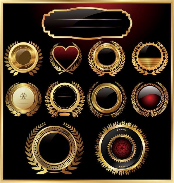 Black gold framed labels with laurel wreaths Premium Vector