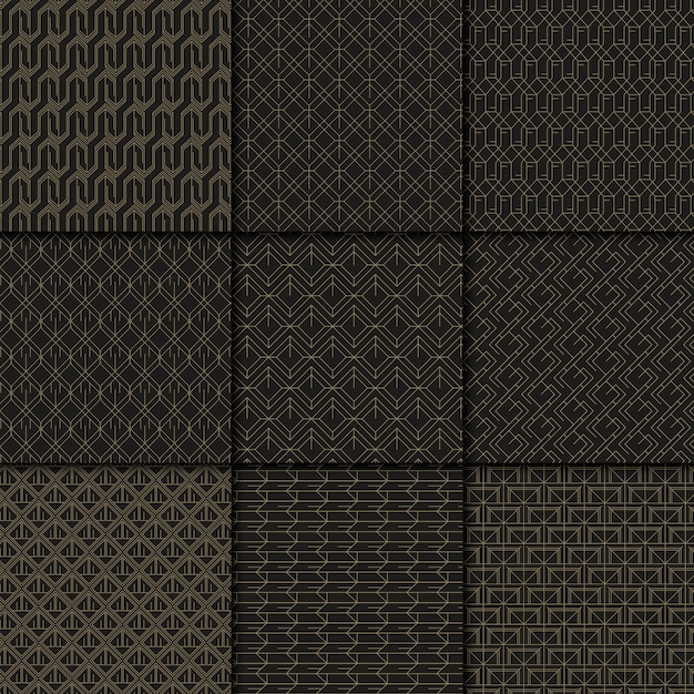 Black and gold geometric pattern collection Free Vector