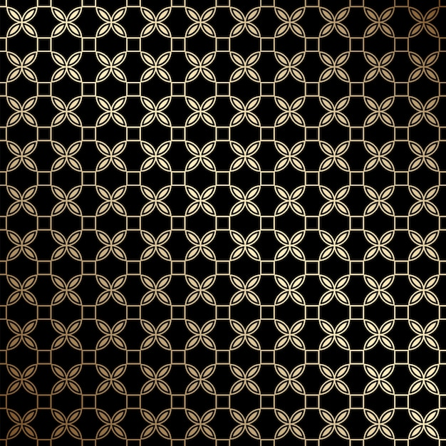 Black and gold geometric seamless pattern with stylized flowers, art deco style Premium Vector