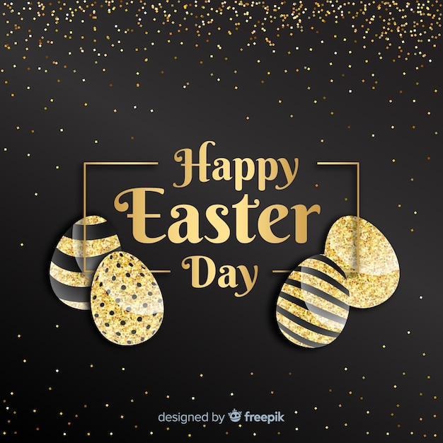 Black and gold happy easter day background Free Vector