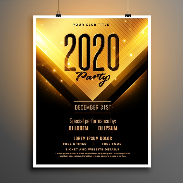 Black and gold happy new year party flyer template design Free Vector