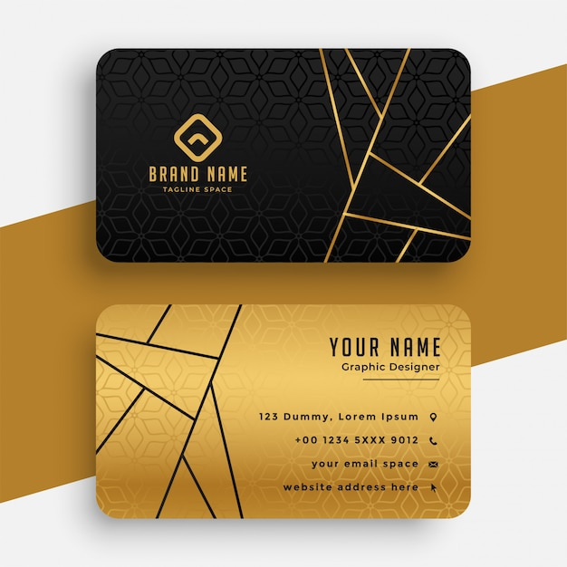 Black and gold luxury vip business card template Free Vector