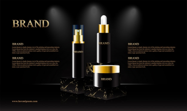 Black gold marble podium for cosmetic products Premium Vector