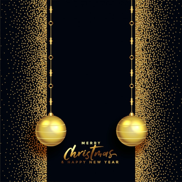 Black and gold merry christmas beautiful greeting Free Vector