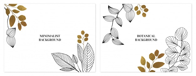 Black and gold minimalist floral backgrounds set Premium Vector