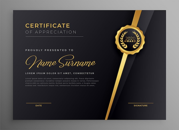Black and gold multipurpose certificate template design Free Vector
