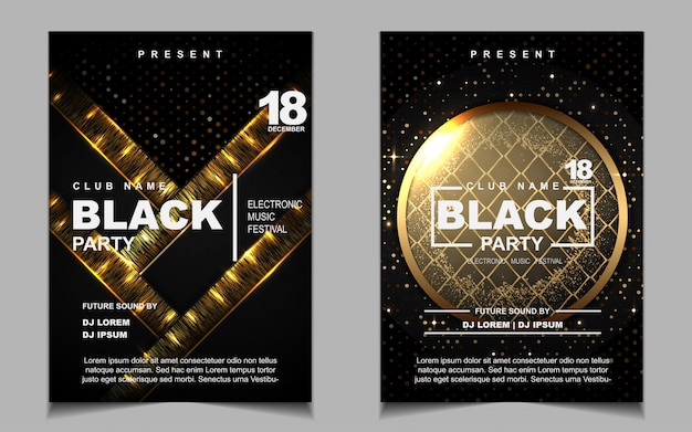 Black and gold night dance party music flyer or poster design Premium Vector