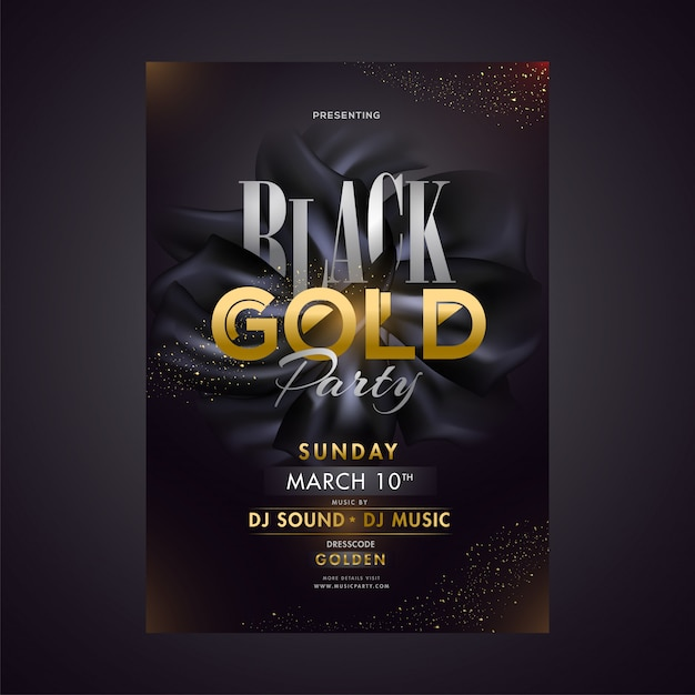 Black gold party template or poster design with date, time and v Premium Vector