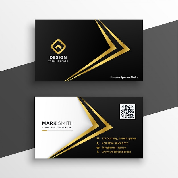 Black and gold premium luxury business card Free Vector