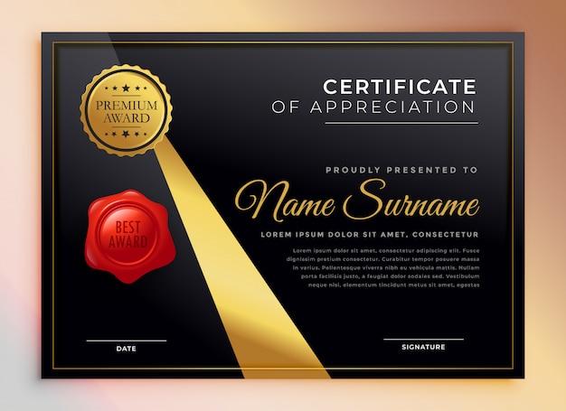 Black and gold premium multipurpose certificate template Free Vector