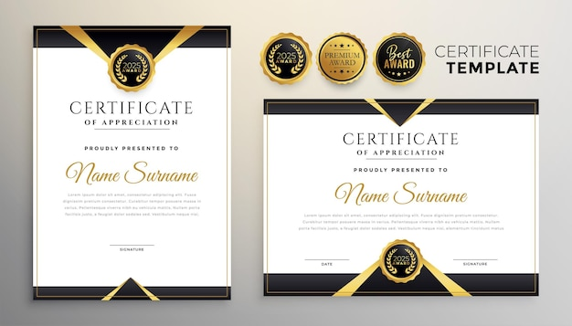 Black and gold premium multipurpose certificate template Free Vector