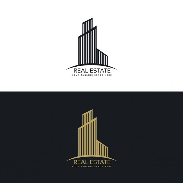 Black and gold real estate logo with a building Vector | Free Download