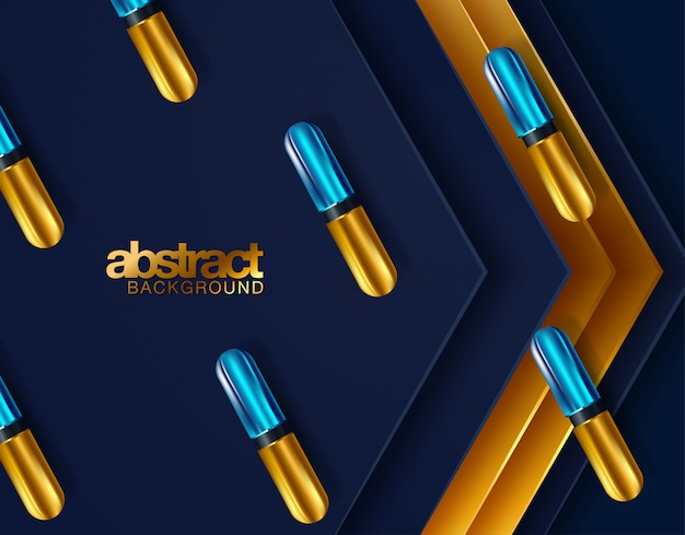 Black and gold spheres background Premium Vector