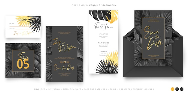 Black and gold tropical wedding stationery Free Vector