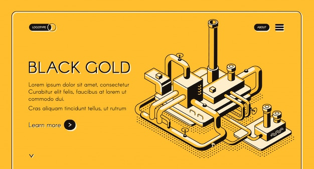 Black gold web template or banner with oil refinery plant line art Free Vector