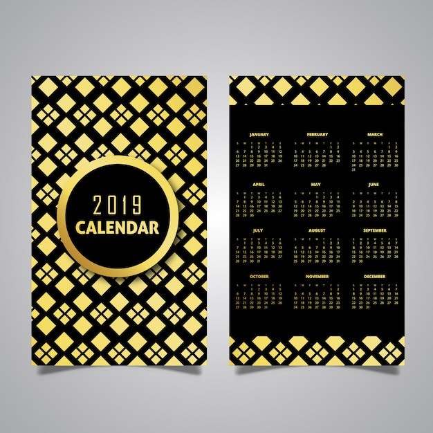 Calendar Design Free Vector : Black golden pattern calendar designs vector free
