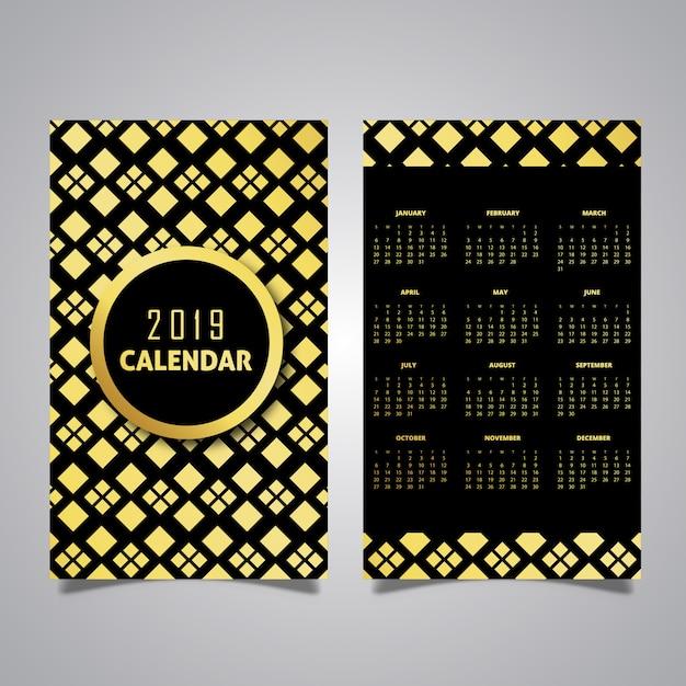 Calendar Design Pattern : Black golden pattern calendar designs vector free