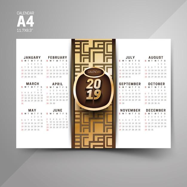 Black And Golden 2019 Pattern Calendar Designs Vector Premium Download