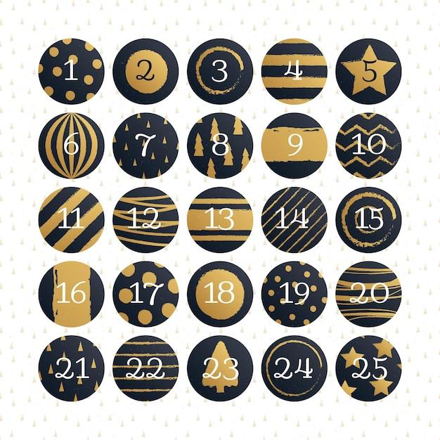 Black and golden advent calendar Free Vector