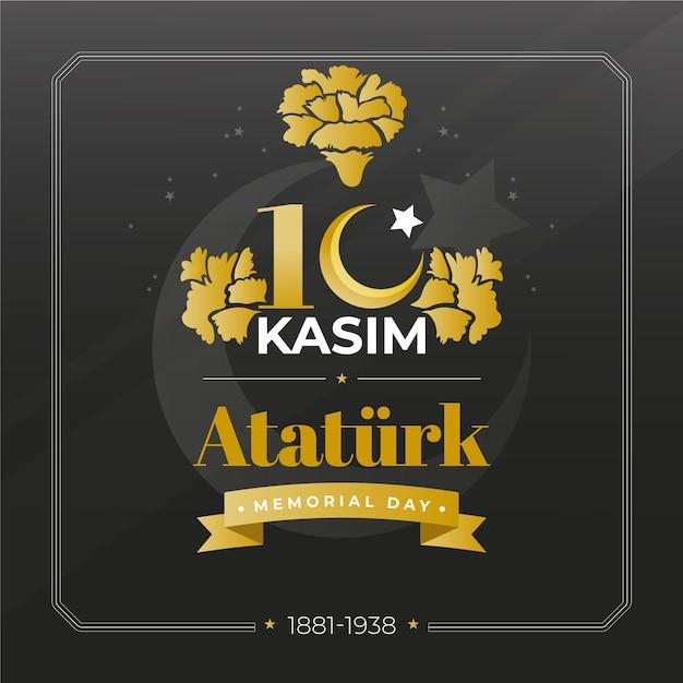 Giorno commemorativo di ataturk nero e dorato Vettore gratuito