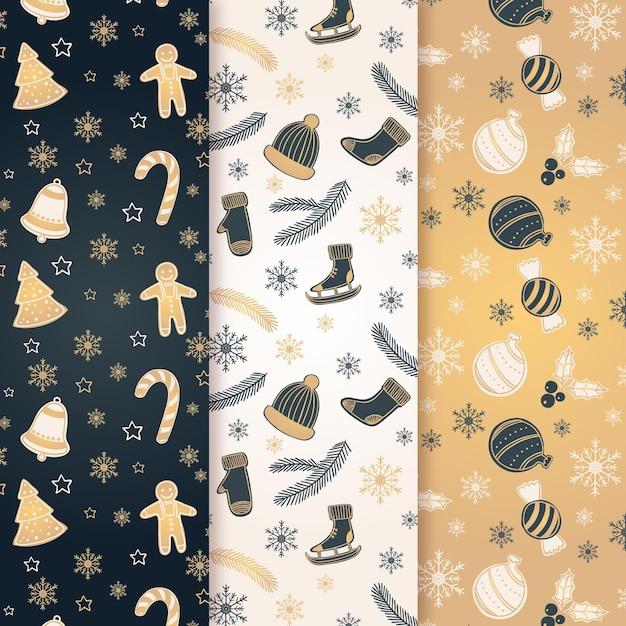 Black & golden christmas pattern collection Premium Vector