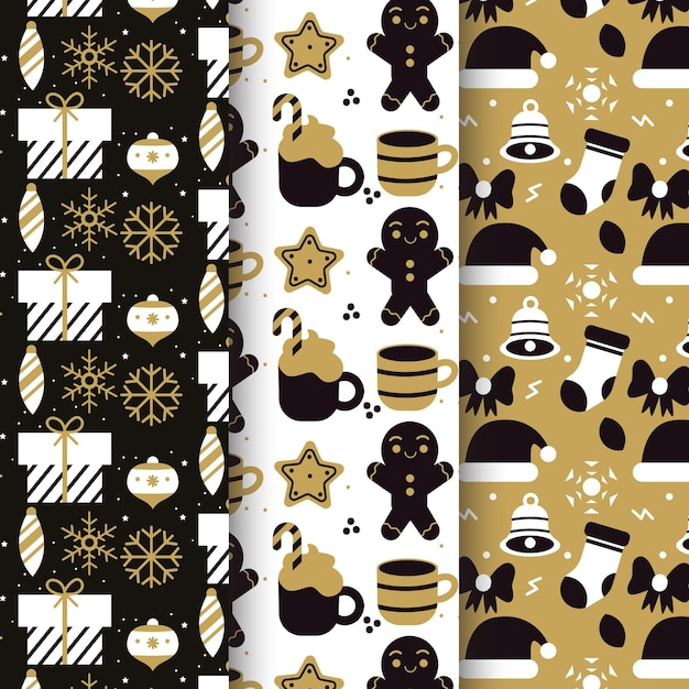 Black & golden christmas pattern collection Free Vector