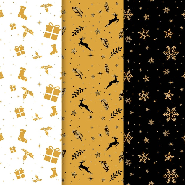 Black and golden christmas patterns Premium Vector