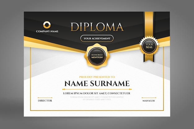 Black and golden diploma certificate with ribbon Free Vector