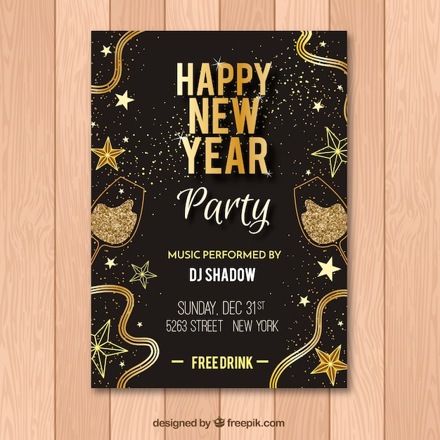 Black and golden flyer for new year party Free Vector