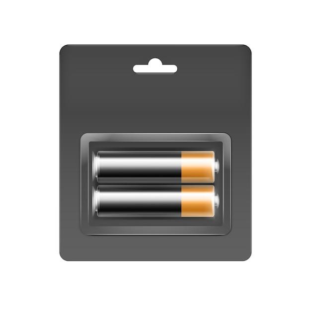 ブランディングのために詰められた灰色の黒いブリスターに詰められた黒い黄金の光沢のあるアルカリ単三電池 Premiumベクター