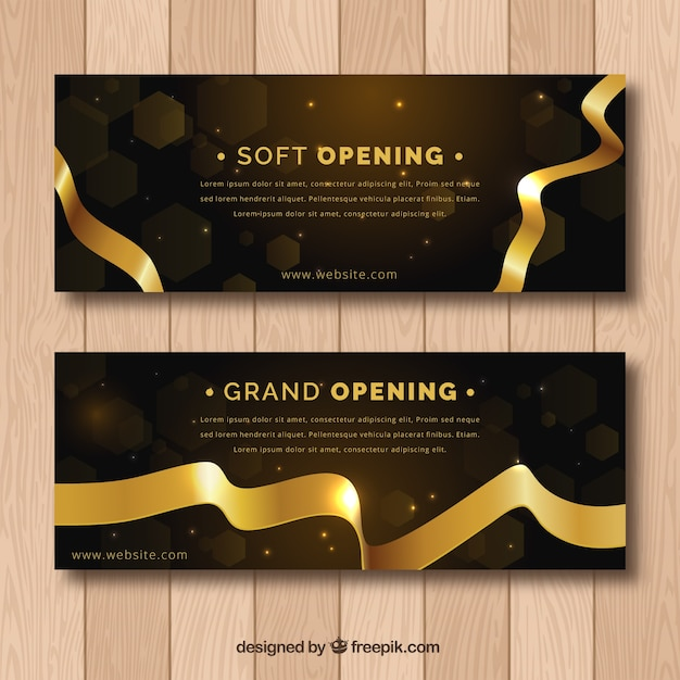 Black and golden inauguration banners Free Vector