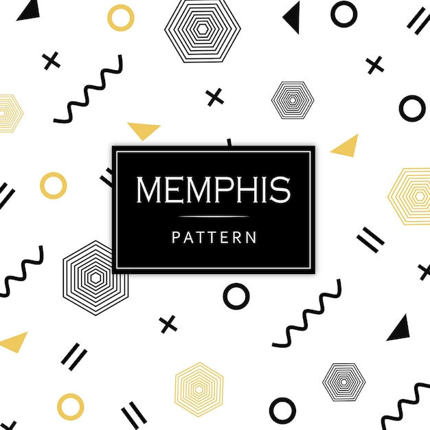 Black and golden memphis geometric pattern Free Vector