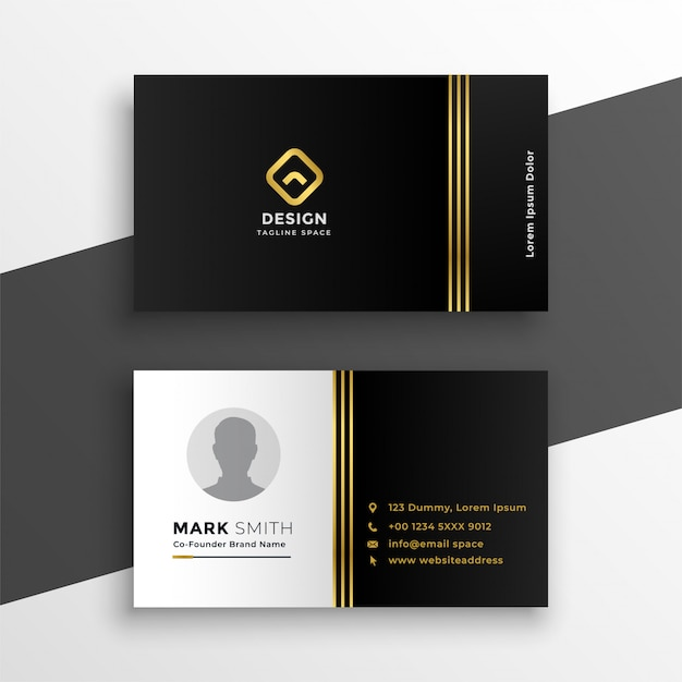 design carte de visite Black golden premium business card design | Free Vector