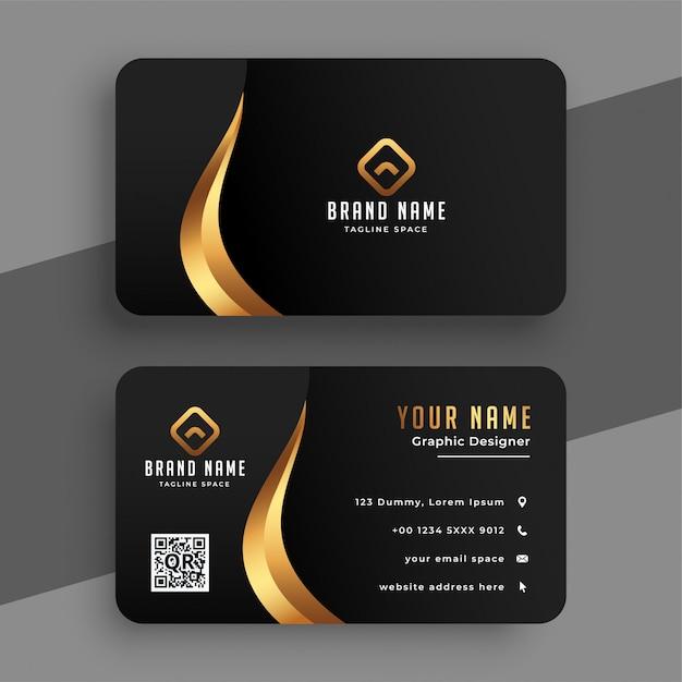 Black and golden premium business card design Free Vector