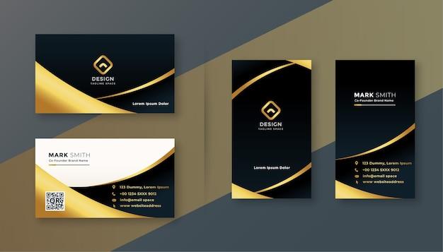 Design biglietto da visita premium nero e dorato Vettore gratuito