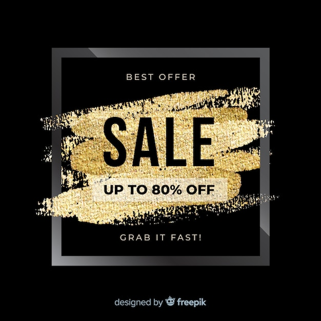 Black and golden sale background Free Vector