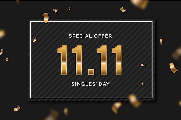 Giornata dei single neri e dorati Vettore gratuito