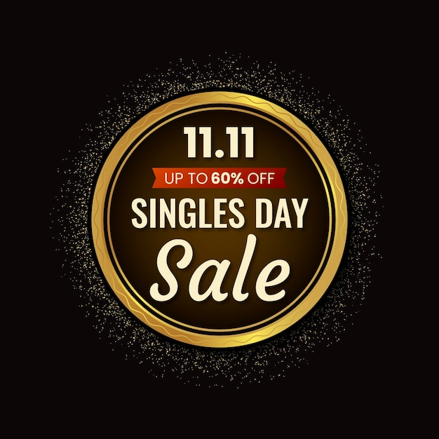 Black and golden singles' day Free Vector