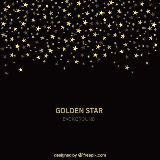 Black golden star background Free Vector