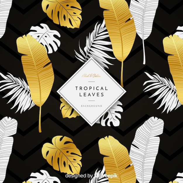 Free Vector Black And Golden Tropical Leaves Background Check out our tropical wallpaper selection for the very best in unique or custom, handmade pieces from our wall décor shops. black and golden tropical leaves background