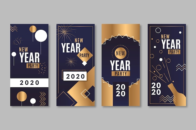 Black and golden with confetti instagram stories for new year Free Vector